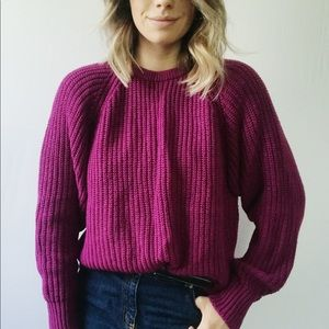 Vintage Fusia Purple Oversized Cable Knit Sweater